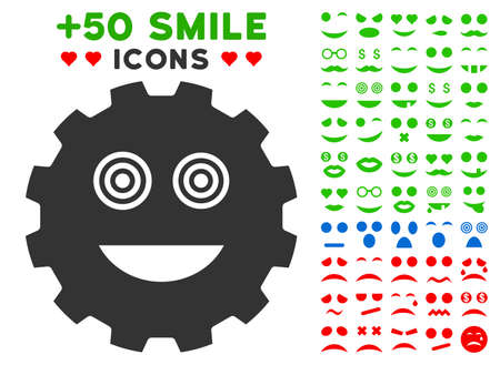gears: Mad Smiley Gear icon with bonus mood pictures. Illustration