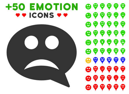 Sad Smiley Message icon with bonus smiley icon set. Vector illustration style is flat iconic elements for web design, app user interfaces.