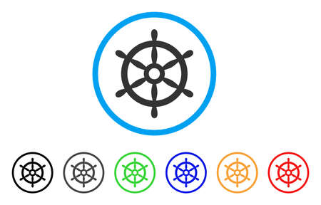 Boat Steering Wheel icon. Vector illustration style is a flat iconic boat steering wheel gray rounded symbol inside light blue circle with black, gray, green, blue, red, orange color variants. Çizim