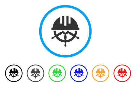 Covered Steering Wheel icon. Vector illustration style is a flat iconic covered steering wheel grey rounded symbol inside light blue circle with black, gray, green, blue, red, orange color versions.