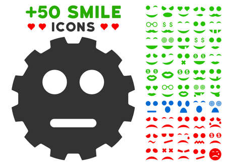 gears: Neutral Smiley Gear pictograph with bonus emotion pictograph collection. Vector illustration style is flat iconic symbols for web design, app user interfaces. Illustration