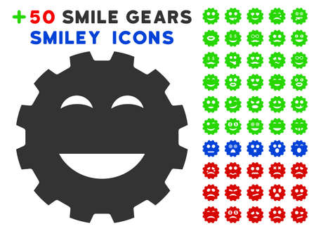 gears: Pleasure Smiley Gear icon with bonus smiley icon set. Vector illustration style is flat iconic symbols for web design, app user interfaces.