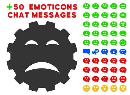 Sadly Smiley Gear pictograph with bonus emoticon pictures. Vector illustration style is flat iconic symbols for web design, app user interfaces.