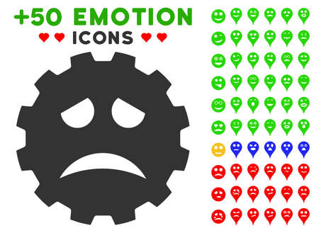 gears: Sadness Smiley Gear pictograph with bonus avatar graphic icons. Vector illustration style is flat iconic elements for web design, app user interfaces.
