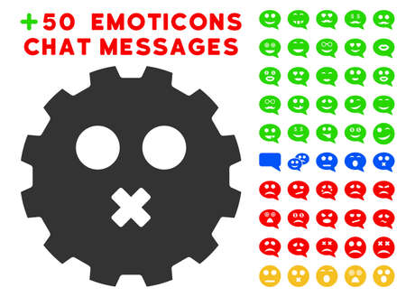 face off: Mute Smiley Gear pictograph with bonus smile pictures. Vector illustration style is flat iconic elements for web design, app user interfaces.