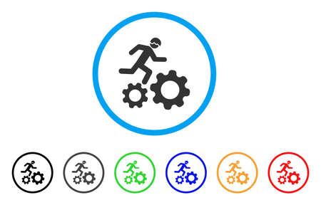 """Laufendes Entwickler-Symbol """"Gänge"""". Vektor-Illustration-Stil ist ein flach ikonisch laufender Entwickler über Getriebe grau abgerundeten Symbol in hellblauen Kreis mit schwarz, grau, grün, blau, rot, Standard-Bild - 85905758"""