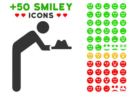 Servant With Hat pictograph with colored bonus emotion pictograph collection. Vector illustration style is flat iconic elements for web design, app user interfaces, messaging. Illustration