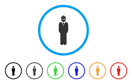guy standing: Standing Engineer icon. Vector illustration style is a flat iconic standing engineer grey rounded symbol inside light blue circle with black, gray, green, blue, red, orange color versions.