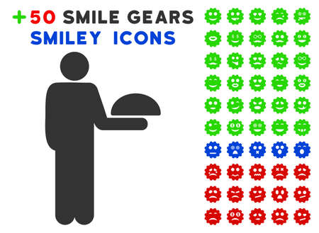 guy standing: Standing Waiter pictograph with colored bonus avatar symbols. Vector illustration style is flat iconic symbols for web design, app user interfaces, messaging. Illustration