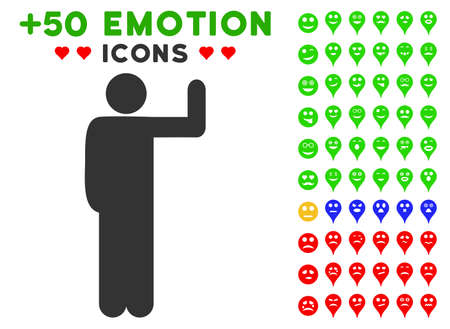 guy standing: Vote Pose icon with colored bonus emoticon graphic icons. Vector illustration style is flat iconic elements for web design, app user interfaces, messaging.