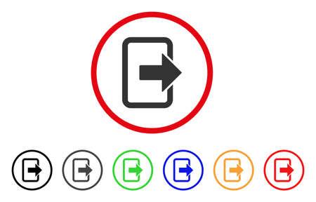Sluit het deurpictogram. Vector illustratie stijl is een plat iconisch uitgangsdeur grijs afgerond symbool binnen de rode cirkel met zwarte, grijze, groene, blauwe, rode, oranje kleurenversies. Stock Illustratie