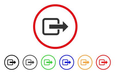 Sluit het deurpictogram. Vector illustratie stijl is een platte iconische uitgang deur grijs afgerond symbool binnen de rode cirkel met zwart, grijs, groen, blauw, rood, oranje kleur extra versies. Stock Illustratie