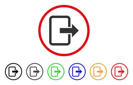 Sluit het deurpictogram. Vector illustratie stijl is een plat iconisch uitgangsdeur grijs afgerond symbool binnen de rode cirkel met zwart, grijs, groen, blauw, rood, oranje kleur extra versies. Stock Illustratie