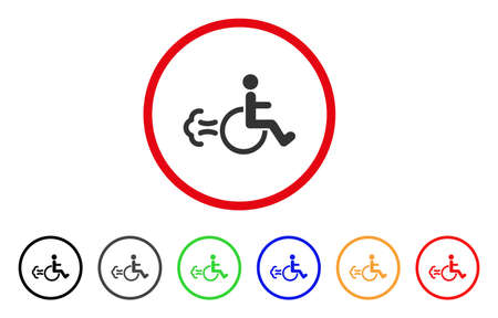 Patient Movement icon. Vector illustration style is a flat iconic patient movement gray rounded symbol inside red circle with black, gray, green, blue, red, orange color variants.
