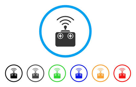 mobile device: Radio Control Device icon. Vector illustration style is a flat iconic radio control device grey rounded symbol inside light blue circle with black, gray, green, blue, red,