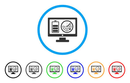 monitor: Remote Battery Monitoring icon. Vector illustration style is a flat iconic remote battery monitoring grey rounded symbol inside light blue circle with black, gray, green, blue, red, Illustration