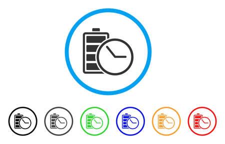 電池時計のアイコン。ベクトル イラストのスタイルは、象徴的なフラット電池時計の黒、グレー、緑、青、赤、オレンジ色の追加バージョンと光の