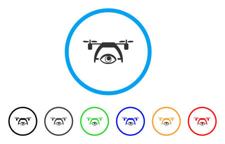 Video Spy Drone icon. Vector illustration style is a flat iconic video spy drone grey rounded symbol inside light blue circle with black, gray, green, blue, red, orange color versions.