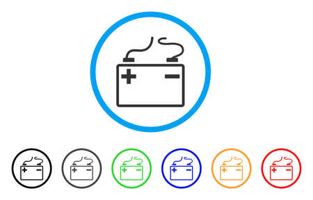 Accumulator icon. Vector illustration style is a flat iconic accumulator grey rounded symbol inside light blue circle with black, gray, green, blue, red, orange color versions.