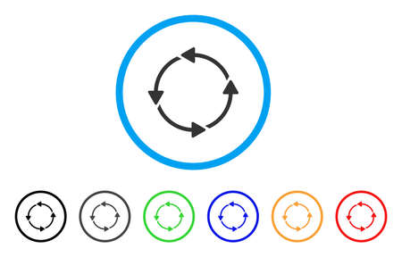 Rotation CCW icon. Vector illustration style is a flat iconic rotation CCW grey rounded symbol inside light blue circle with black, gray, green, blue, red, orange color versions. Illustration