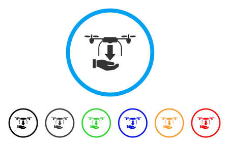 Unload Drone Hand icon. Vector illustration style is a flat iconic unload drone hand grey rounded symbol inside light blue circle with black, gray, green, blue, red, orange color versions. Çizim