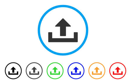 Upload icon. Vector illustration style is a flat iconic upload gray rounded symbol inside light blue circle with black, gray, green, blue, red, orange color additional versions. Illustration