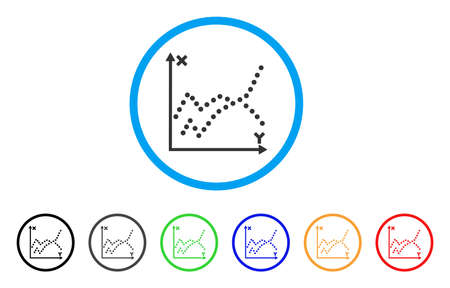 mathematics: Functions Plot icon. Vector illustration style is a flat iconic functions plot grey rounded symbol inside light blue circle with black, gray, green, blue, red, orange color variants. Illustration