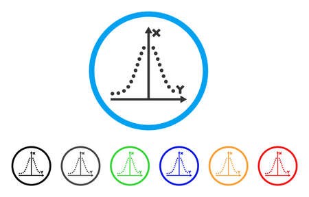 mathematics: Gauss Plot icon. Vector illustration style is a flat iconic gauss plot gray rounded symbol inside light blue circle with black, gray, green, blue, red, orange color variants.