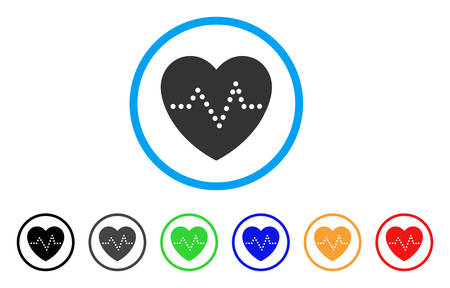 pulsating: Heart Pulse icon. Vector illustration style is a flat iconic heart pulse gray rounded symbol inside light blue circle with black, gray, green, blue, red, orange color versions.