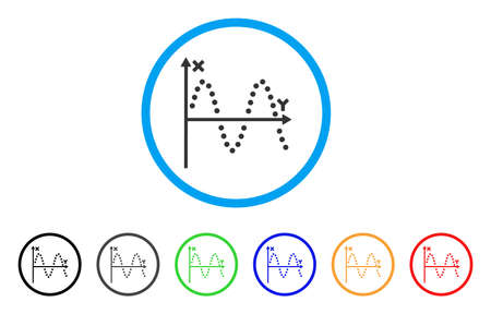 alternating current: Sine Plot icon. Vector illustration style is a flat iconic sine plot gray rounded symbol inside light blue circle with black, gray, green, blue, red, orange color additional versions.