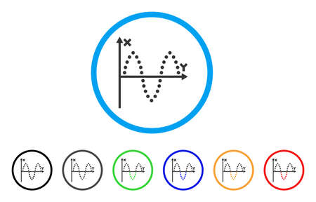 Sinusoid Plot icon. Vector illustration style is a flat iconic sinusoid plot gray rounded symbol inside light blue circle with black, gray, green, blue, red, orange color versions. Illustration