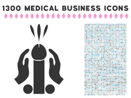 Blowjob Ejaculation grey vector icon with 1300 clinic business pictographs. Clipart style is flat bicolor light blue and gray pictograms. Illustration