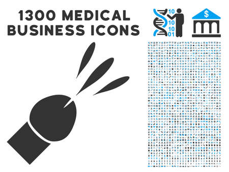 Ejaculation gray vector icon with 1300 doctor business pictographs. Set style is flat bicolor light blue and gray pictograms.