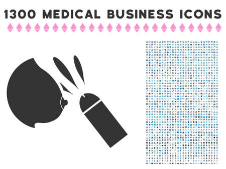 Female Breast Sperm Ejaculation gray vector icon with 1300 medicine commercial icons. Collection style is flat bicolor light blue and gray pictograms. Иллюстрация