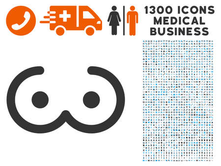 Female Breast gray vector icon with 1300 medicine commerce pictographs. Set style is flat bicolor light blue and gray pictograms.