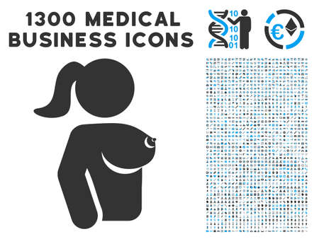 Female Breast grey vector icon with 1300 healthcare business pictograms. Clipart style is flat bicolor light blue and gray pictograms.