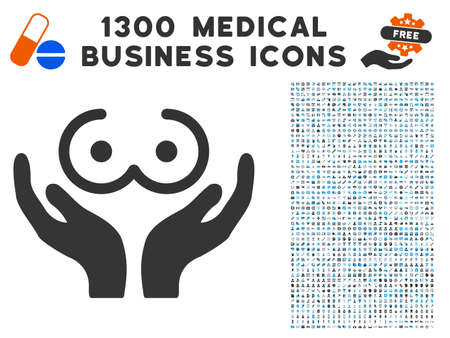 Female Tits Care Hands grey vector icon with 1300 clinic commercial icons. Clipart style is flat bicolor light blue and gray pictograms.