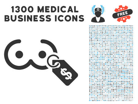 Female Tits Price Tag gray vector icon with 1300 medical commercial icons. Set style is flat bicolor light blue and gray pictograms.
