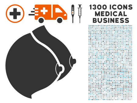 Female Tits gray vector icon with 1300 medical commercial pictographs. Collection style is flat bicolor light blue and gray pictograms.