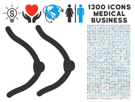 Lady Chest gray vector icon with 1300 medicine commerce icons. Clipart style is flat bicolor light blue and gray pictograms.