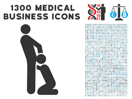 Oral Sex Gays gray vector icon with 1300 medicine business pictograms. Set style is flat bicolor light blue and gray pictograms.