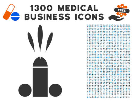 Sperm Ejaculation gray vector icon with 1300 healthcare business icons. Set style is flat bicolor light blue and gray pictograms. Illustration