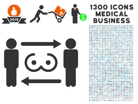 Swingers Exchange gray vector icon with 1300 doctor commerce pictograms. Clipart style is flat bicolor light blue and gray pictograms. Иллюстрация