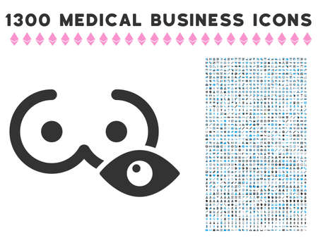 View Female Tits grey vector icon with 1300 medical commerce symbols. Clipart style is flat bicolor light blue and gray pictograms.