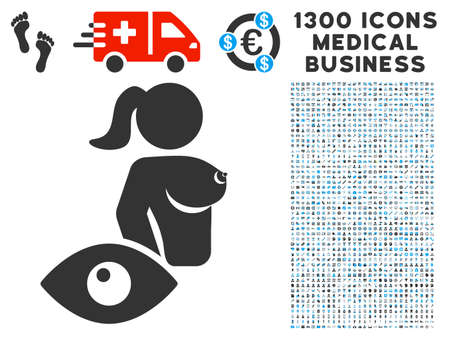 View Prostitute grey vector icon with 1300 healthcare commercial pictographs. Set style is flat bicolor light blue and gray pictograms. Иллюстрация