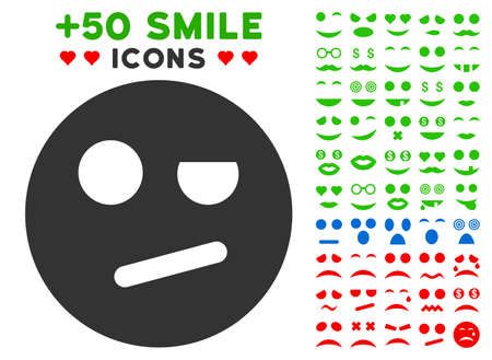 Negation Smiley pictograph with colored bonus emotion graphic icons. Vector illustration style is flat iconic elements for web design, app user interfaces, messaging.
