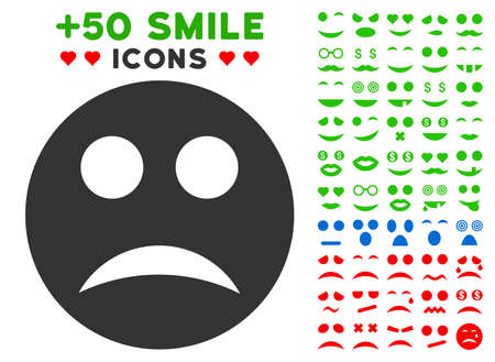 Sad Smiley icon with colored bonus facial design elements. Vector illustration style is flat iconic elements for web design, app user interfaces, messaging.