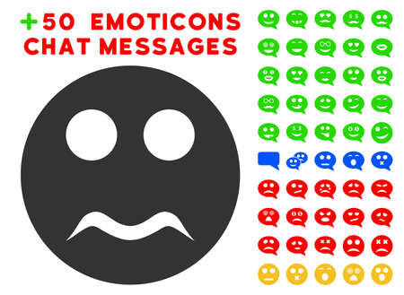 Serious Smiley icon with colored bonus emoticon pictograph collection. Vector illustration style is flat iconic elements for web design, app user interfaces, messaging.