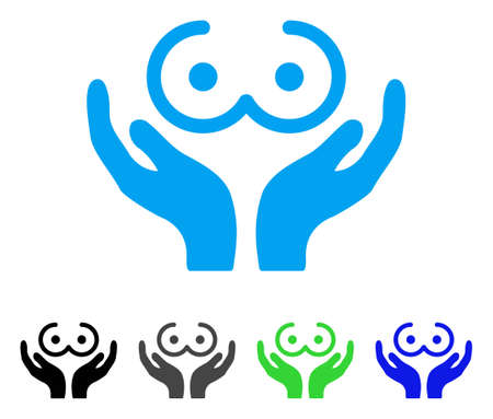 Female Tits Care Hands icon. Vector illustration style is a flat iconic female tits care hands symbol with black, gray, green, blue color versions. Designed for web and software interfaces.