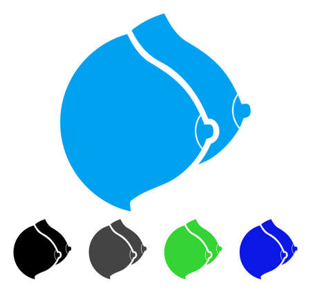Female Tits icon. Vector illustration style is a flat iconic female tits symbol with black, gray, green, blue color variants. Designed for web and software interfaces.